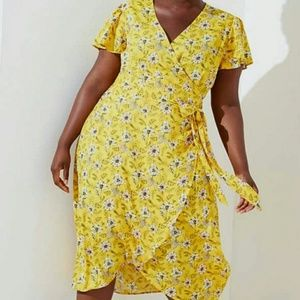 Loft Plus Yellow Floral Wrap Dress sz 18